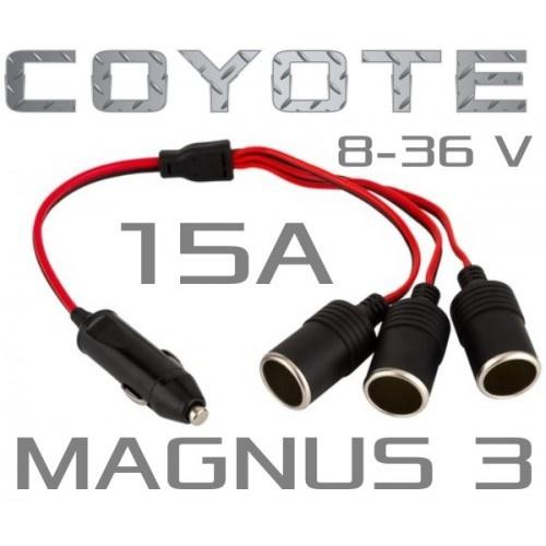 Посилений Автомобільний трійник розгалужувач прикурювача COYOTE MAGNUS 3 для вантажних і легкових автомобілів