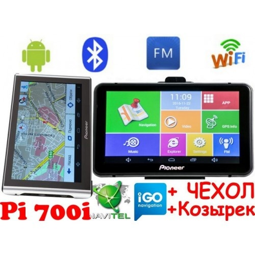 Android GPS навигатор Pioneer Pi700i+AV Андроид 7 дюймов экран + Wifi и Bluetooth с картами навигации 2019 года
