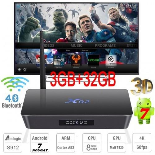 Оптимально Настроенная Смарт ТВ приставка X92 3Gb-32Gb S912 +Телевидение + Фильмы