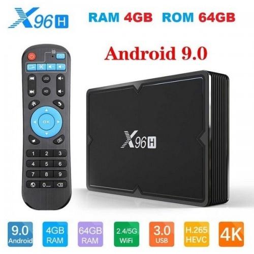 Нова модель Смарт ТВ приставки X96H 4гб / 64Гб на Андроїд 9 для перегляду фільмів телебачення серфінгу в інтернеті